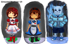 Wondertale_Concept Sketches (Frisk, Chara, Sans) by crescentshadows19