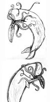 Sperm Whale and Squid - Sketches for relief by elicenia
