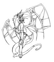 Tame with Her Wings Lineart by Werewolf-Krai