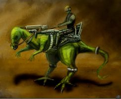 Some Guy Riding Dinosaur by spidermc