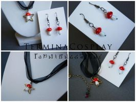 Mushroom Necklace and Earring Set by TerminaCosplay