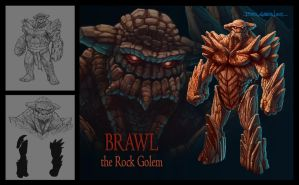Character Design - Brawl Rock Golem by madmagnus