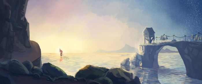 Hills and shore by Yule-Minh