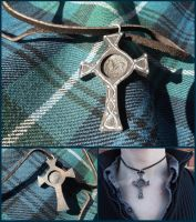 Celtic Coin-Celtic Cross Necklace by xofox