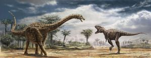 Ampelosaurus and Tarascosaurus by dustdevil