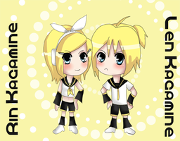 Len and Rin Kagamine by XNessNessX