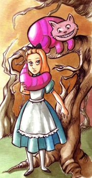 Alice and Cheshire cat by Gigei