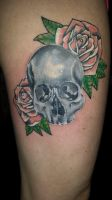 Skull and roses tattoo by rgsx750