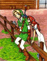 Link and Malon by medli20