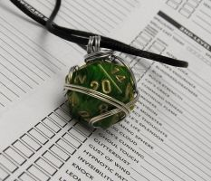Wire Wrapped Green d20 by lavadragon