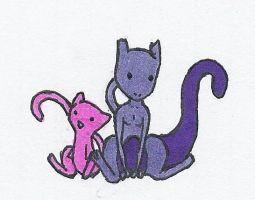 Mew and Mewtwo by Kyata