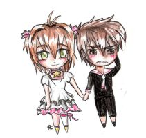 Sakura and Syaoran Chibi by EmyKitteh