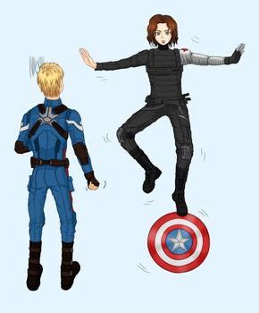 Bucky and Captain by TheresaCHY