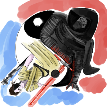 Kylo Ren and Rey by swaggerpede