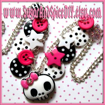 Punky Skull Button Necklace by wickedland