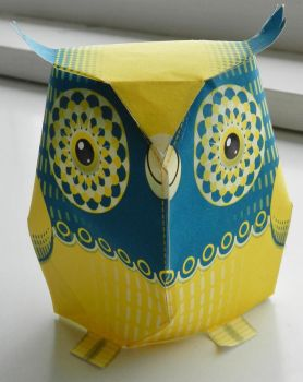 Yellow and Blue Owl by anniet1234