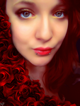 Portrait and Roses by holavengoaflotar
