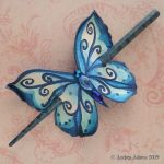 Blue butterfly hair slide by Beadmask