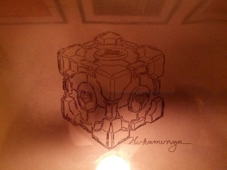 Etch A Sketch Companion Cube by theangrybuddha