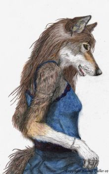 Wolf Anthro Portrait 3 by RussellTuller