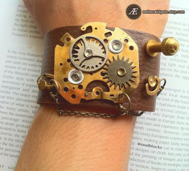 The Time Lord - Steampunk Cuff by AetherWidgets