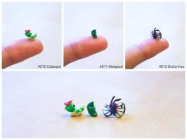 Pinkymon: Caterpie, Metapod, Butterfree by lonelysouthpaw