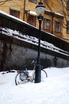 Bycicle in the snow by rock-n-pix