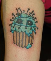 pinhead cupcake tattoo by yayzus