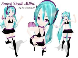 MMD Newcomer Sweet Devil Miku by Tdrawer3130
