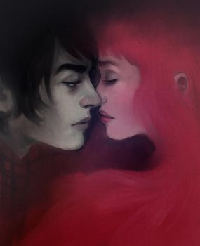 Marshall Lee and Bubblegum by andrahilde