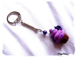 Purple Berry Cupcake Keychain by Cateaclysmic