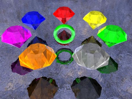 7 Chaos Emeralds and ring by KnudoW