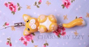 Cute cat charm with dangly tail phone strap by CharmsByIzzy