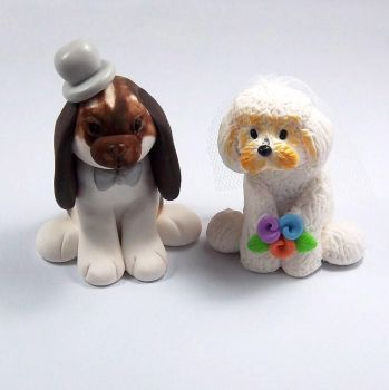 Wedding Cake Topper Bunny and Bichon Frise by HeartshapedCreations