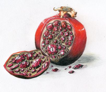 Ruby Pomegranate by Inkthinq