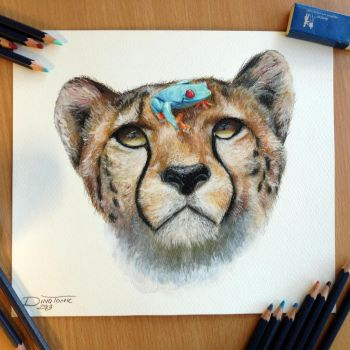 Cheetah and a frog pencil drawing by AtomiccircuS