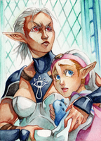 ACEO #85 OoT - Impa and Zelda by RoteGruetze