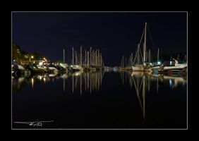 Harbor at night... by OrisTheDog
