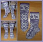 Purple and white fair-isle Lilli socks by KnitLizzy