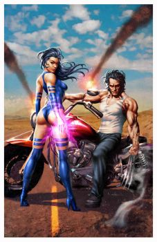 Psylocke and Logan by Valzonline