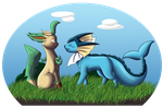 Vaporeon-F and Leafeon-M by zeaeevee