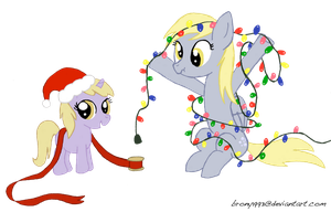 Derpy and Dinky's Christmas Lights by LumenGlace
