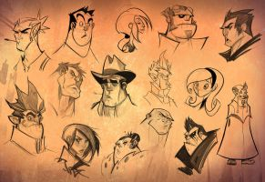 Sketchy Faces by frogbillgo