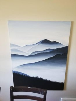 big canvas acrylic mountainscape by TheJennaBrown