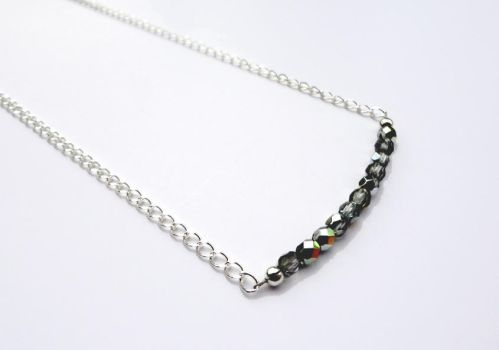 Row Necklace Marea Czech Glass and Silver by Leesa-M