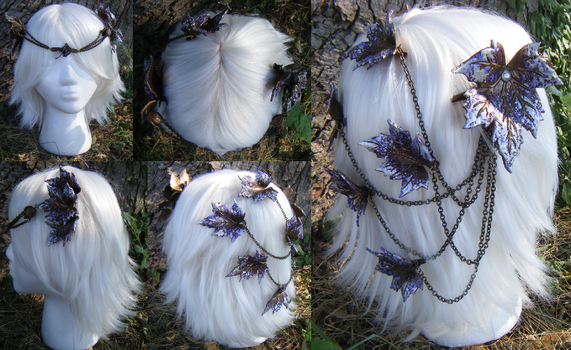 Leather Leaf Purple Headdress by Arexandria