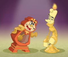 Cogsworth and Lumiere by toonbaboon