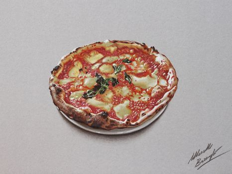 Pizza DRAWING by Marcello Barenghi by marcellobarenghi