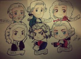 Masters  of Classic Music in chibi style by rafha-chan