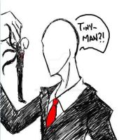Tinyman and Slenderman by tmntffnyp